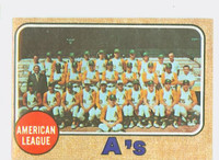 1968 Topps Baseball 554 A's Team High Number Oakland Athletics Excellent to Excellent Plus