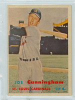 1957 Topps Baseball 304 Joe Cunningham Tough Series Single Print St. Louis Cardinals Excellent to Excellent Plus