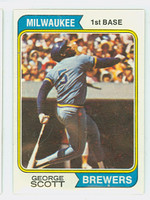 1974 Topps Baseball 27 George Scott Milwaukee Brewers Near-Mint Plus