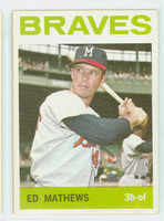 1964 Topps Baseball 35 Eddie Mathews Milwaukee Braves Very Good