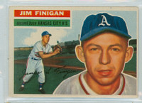 1956 Topps Baseball 22 Jim Finigan Kansas City Athletics Excellent to Mint White Back