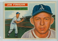 1956 Topps Baseball 22 Jim Finigan Kansas City Athletics Excellent to Mint Grey Back