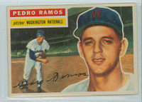 1956 Topps Baseball 49 Pedro Ramos Washington Senators Very Good to Excellent White Back