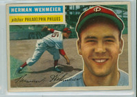 1956 Topps Baseball 78 Herman Wehmeier Philadelphia Phillies Very Good to Excellent Grey Back