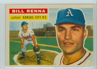 1956 Topps Baseball 82 Bill Renna Kansas City Athletics Very Good to Excellent Grey Back
