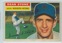 1956 Topps Baseball 87 Dean Stone Washington Senators Very Good to Excellent Grey Back