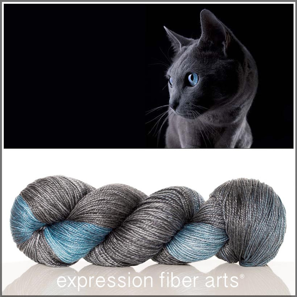 RUSSIAN BLUE 'LUSTER' SUPERWASH MERINO TENCEL SPORT