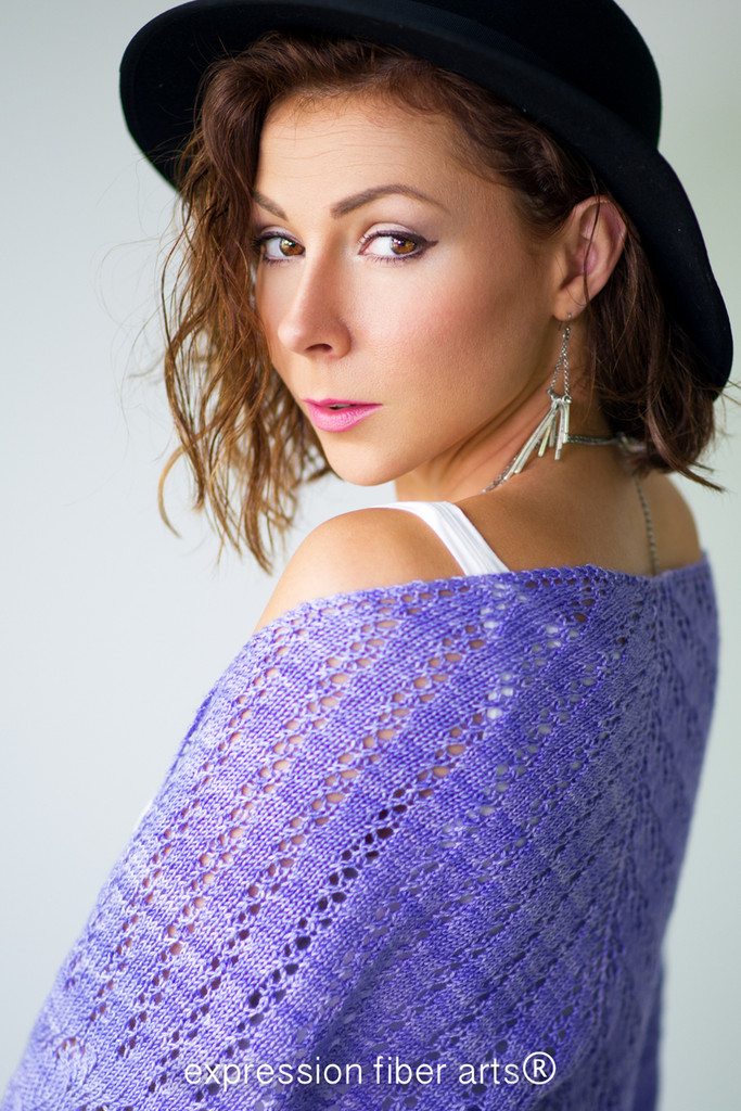 Lacy Lavender Knitted Triangle Shawl