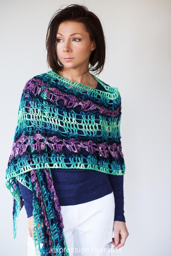 Peacock Path Crochet Shawl Pattern