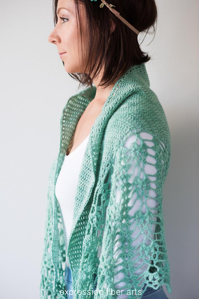 Pistachio Falls Cascading Crescent Crochet Shawl Pattern