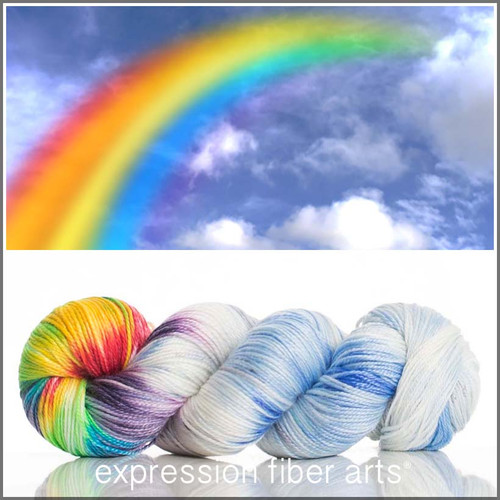RAINBOW IN THE CLOUDS 'LUSTER' SUPERWASH MERINO TENCEL SPORT