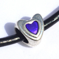Purple Enamel Heart Bead