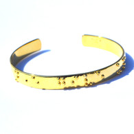 Never Give Up Goldplated Cuff Braille Bracelet