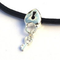 Heart lock and key Dangle Bead