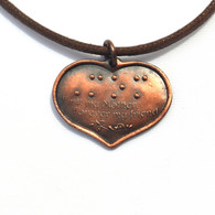 First my Mother, Forever my Friend with Mom in Braille Pendant in DK Copper