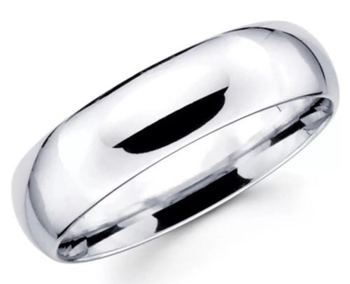 Solid 14K White Gold 6 MM Size 11 Wedding Band Comfort Fit Mens Womens Ring