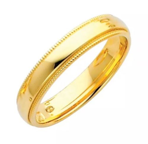 Solid 14K Yellow Gold 4 MM Size 12 Milgrain Wedding Ring Band Mens Womens