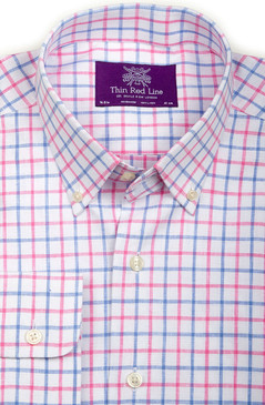 Pure Linen Sky & Pink Check (Semi-fitted)