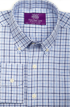 Pure Linen Sky Blue & Navy Check (Semi-fitted)
