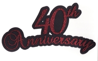 40th Anniversary laser die cut in Red Glitter