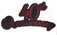 40th Anniversary laser die cut in Red Glitter