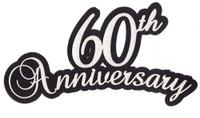 60th Anniversary laser die cut in White Glitter