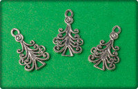 Christmas Tree Swirls Charm - Antique Silver