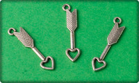 Heart Arrow Charm - Antique Silver