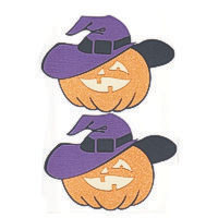 Pumpkin with Hat - Set of 2 - Glitter!