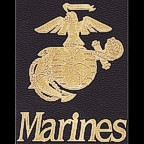 Marines word with Marines logo - etched gold!