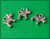 Dog Charm - Antique Silver