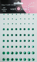 72 Count - Dark Green Rhinestones - Self Adhesive