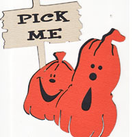 Pumpkins with Pick Me! Sign