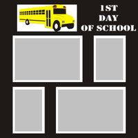 First Day of School with Bus - 12x12 Overlay