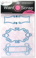Nestabling Fancy Tags Two Turquoise Rhinestones