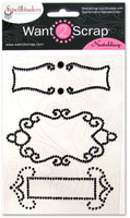 Nestabling Fancy Tags Two Black Rhinestones
