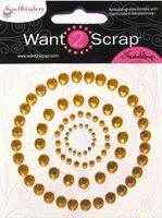 Nestabling Petite Scalloped Circle Sm Gold Rhinestones