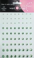 72 Count - Light Green Rhinestones - Self Adhesive