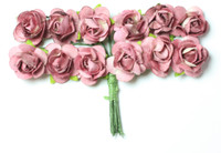 "Mulberry Paper Flowers (12 Flowers) - 3/8"" Mauve"