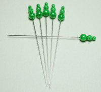 Decorative Pin Jewels - Apple Green - Set of 6