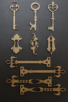 Card Size Antique Keys w/hardware - Chipboard