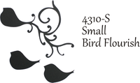 Small Bird Flourish - Silhouette