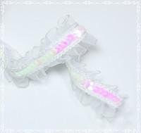 Elastic Ruffled Sequin Trim - White