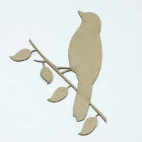 Bird on a Branch - Chipboard Embellishment
