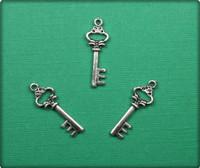 Antique Key Charm - Antique Silver