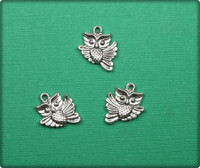 Owl in Flight Charm - Antique Silver