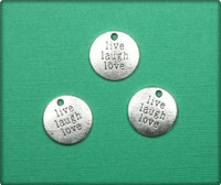 Live Laugh Love Circle Charm - Antique Silver