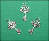 Key with Swirls Charm - Antique Silver
