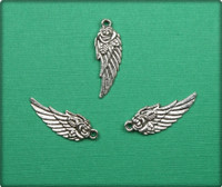 Angel Wing with Rose Charm - Antique Silver