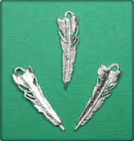 Feather Charm - Antique Silver